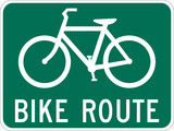 Bicycle Route Guide sign on white poster