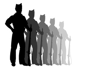 Silhouettes of riflemens
