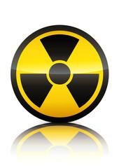 Symbole de danger de radiation (reflet métal)