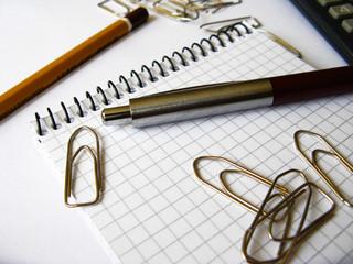 Bloc notes, penna, graffette