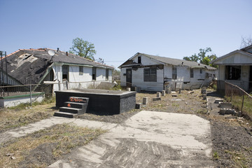 Home off foundation Ninth Ward New Orleans