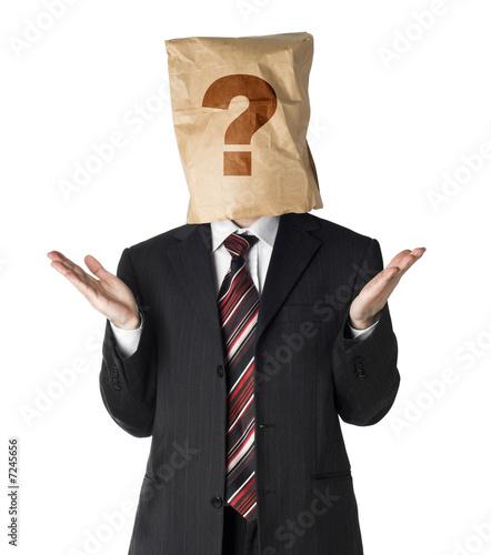 businessman wearing  paper bag