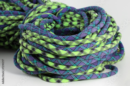 purple and green climbing rope