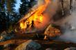 Burning wooden house - 7254032