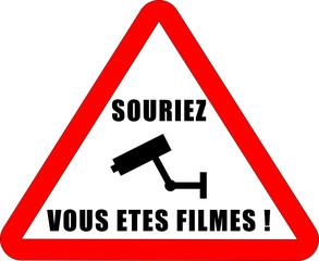 """Panneau """"Souriez ..."""" Vidéosurveillance"""