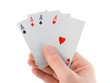 Hand and four aces