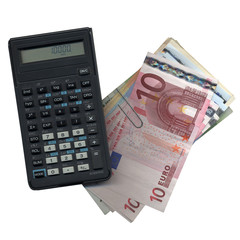 Pocket calculator with Euros bank notes