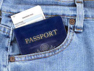 Passport and Boarding Pass in Jeans Pocket