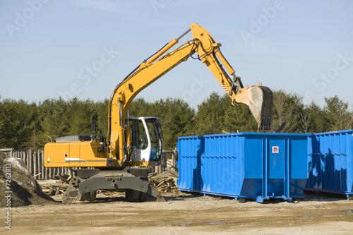 Leinwanddruck Bild demolition bulldozer