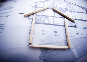 House blueprints close up