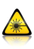 Symbole de danger rayon laser (reflet métal)  poster
