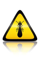 Symbole de danger termite (reflet métal)