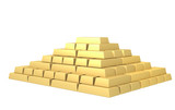 Symbol of riches - pyramid from gold ingots poster