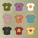 coloured tshirts with various motif designs poster