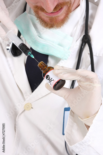 poster of doctor with poison bottle