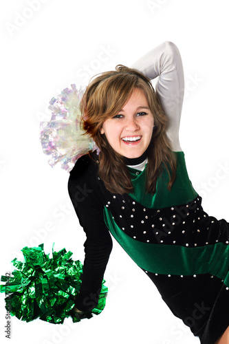 Happy Girl in a Pom Pon Uniform