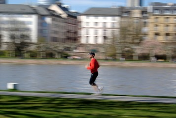 Blurred motion picture of a jogger