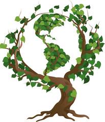 Green world tree vector illustration