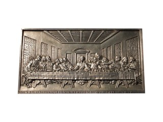 A Metal Plaque Depicting the Last Supper.