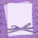Grunge papers design in scrapbooking style with bow.  Floral bac