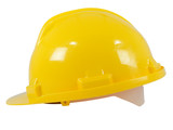 New yellow hardhat isolated on white background poster