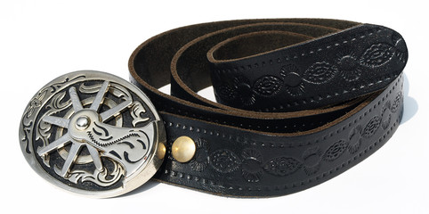 Vintage style cowboy belt with metal spur buckle