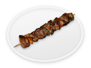 steak with vegetables on stick