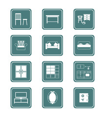 Modern home furniture icon collection in vector.