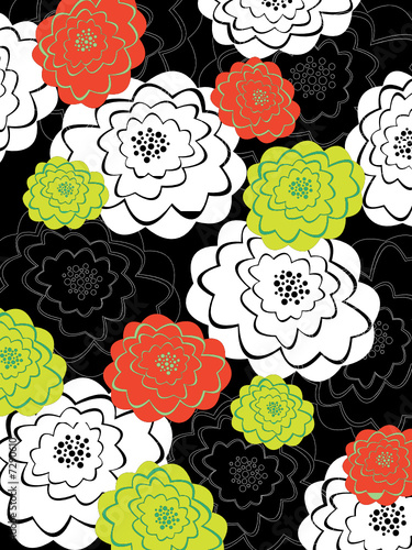 orange and green blooms on black (vector) - illustration