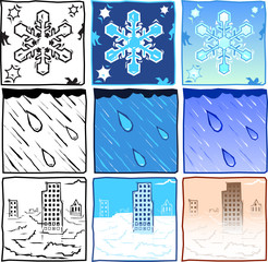 Wood-cut vector symbols for snow, rain and fog.
