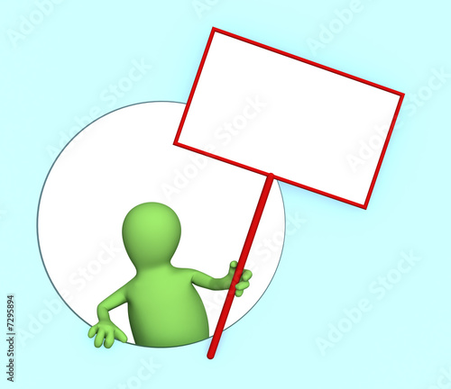 3d person - puppet with the blank poster