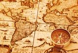 Fototapeta kartografia - kompas - Inne