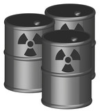 three 3d barrels with radio active chemicals in them  poster