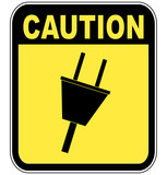 yellow caution sign warning of power surge or electrocution poster
