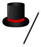 black magic hat with red ribbon and magic wand  poster