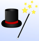 black magic hat and wand on blue background with stars