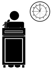 stick man or figure standing at podium with clock