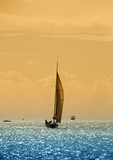 Sailboat in twilight poster