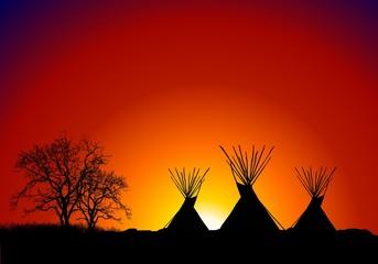 tepee al tramonto