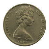 Queen Elizabeth II on a well scratched New Zealand coin poster