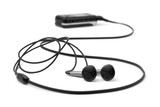 MP3 player and earphones poster
