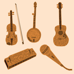 Five country music instruments