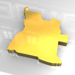 3d golden map of angola