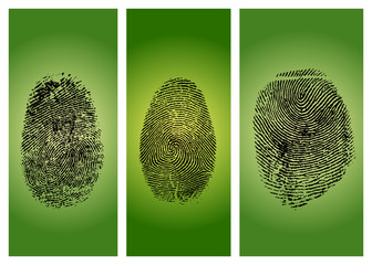 Three finger prints isolated on gradient background
