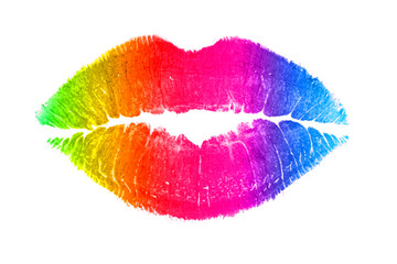 Rainbow lips kiss