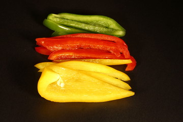 Sliced colorful peppers