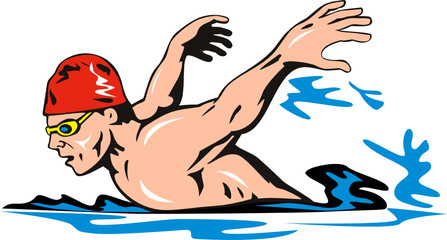 Olympic swimmer doing a breast stroke