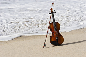 Close up of a Violin and the Atlantic Seashore