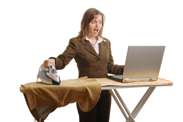 Stressed business woman working - isolated