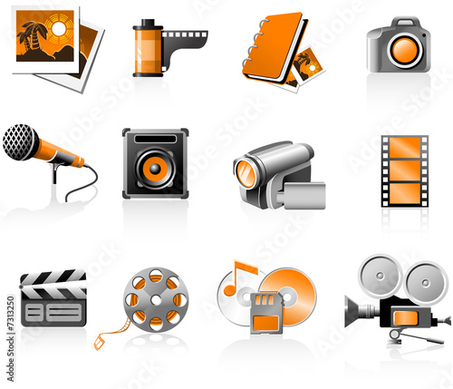 Multimedia icons set - photo and video
